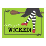 Fun Wicked Witch on Broom Halloween Party Announcement
