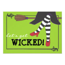 Fun Wicked Witch on Broom Halloween Party Invitation