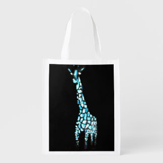 Fun Wild Animal Abstract Giraffe Art Grocery Bag