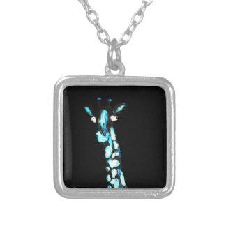 Fun Wild Animal Abstract Giraffe Square Pendant Necklace