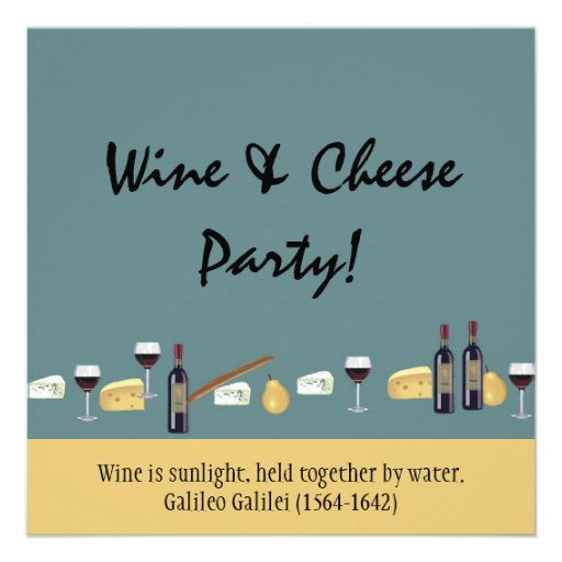 Fun Wine and Cheese Party-with Quote Personalized Invitations