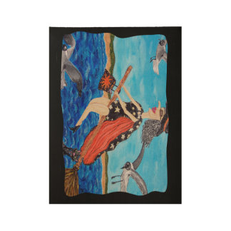 Fun Witch Bathing Suit Flying to Beach Seagulls Wood Poster
