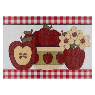 Fun with Apples glass cutting board