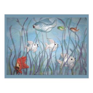 fun with chalkware fish postcard