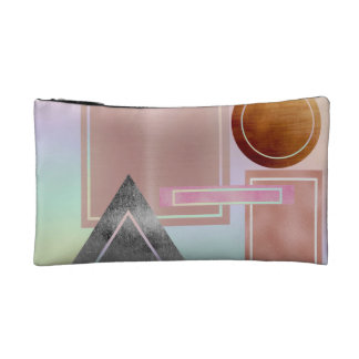 Fun with shapes,metallic,gold,rose gold,silver,ult cosmetic bag