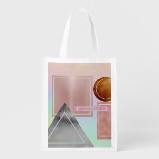 Fun with shapes,metallic,gold,rose gold,silver,ult grocery bag