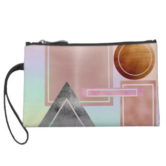 Fun with shapes,metallic,gold,rose gold,silver,ult suede wristlet wallet