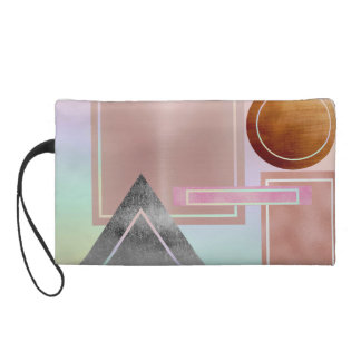 Fun with shapes,metallic,gold,rose gold,silver,ult wristlet purse