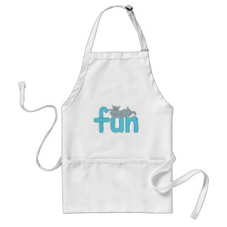 fun word in aqua with playful gray cat, apron