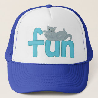 fun word in aqua with playful gray cat, hat