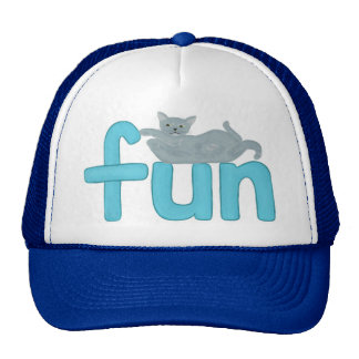 fun word in aqua with playful gray cat, hat