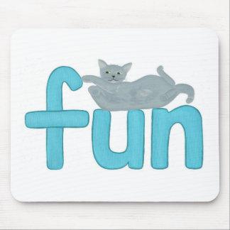 fun word in aqua with playful gray cat, mousepad