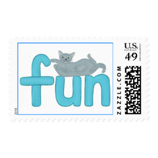 fun word in aqua with playful gray cat, postage