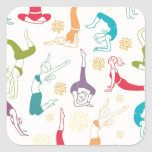 Fun workout pattern square sticker