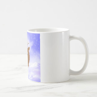 Fun Xmas Reindeer with Red Nose in the Snow Coffee Mug