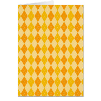 Fun Yellow and Orange Argyle Diamond Tile Pattern Card