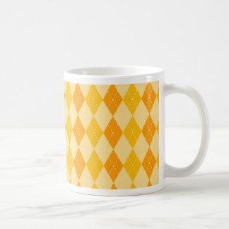 Fun Yellow and Orange Argyle Diamond Tile Pattern Mug