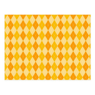 Fun Yellow and Orange Argyle Diamond Tile Pattern Postcard