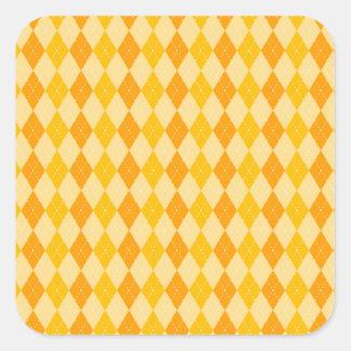 Fun Yellow and Orange Argyle Diamond Tile Pattern Square Sticker