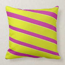 Fun Yellow and Pink Stripes Throw Pillow