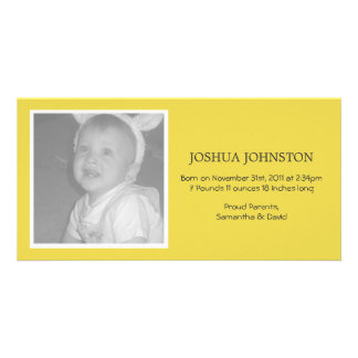 Fun Yellow Baby Announcements Photo Cards