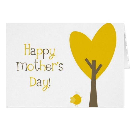Fun Yellow Bird Tree Heart Happy Mother's Day Card