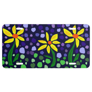 Fun Yellow Daisies Floral Abstract License Plate