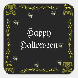 Fun Yellow Girl Gothic Skulls Halloween Square Stickers