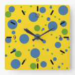 Fun Yellow, Green and Blue Spotted Wall Clock