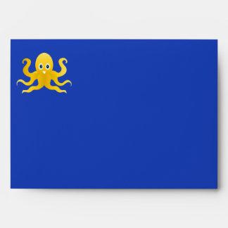 Fun yellow octopi envelope