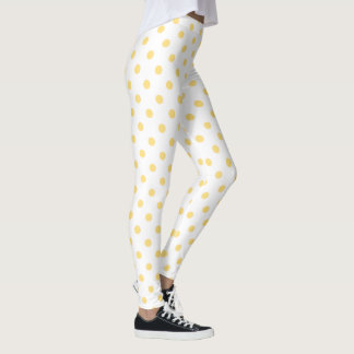 Fun Yellow Polkadots Pattern Leggings