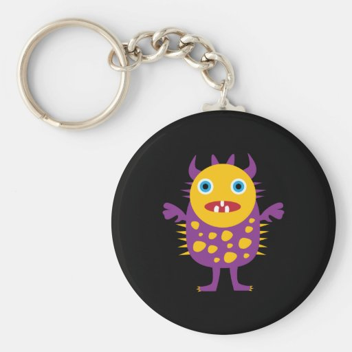 Fun Yellow Purple Monster Creature Gifts for Kids Basic Round Button Keychain