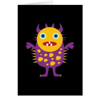 Fun Yellow Purple Monster Creature Gifts for Kids Greeting Card