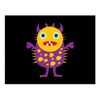 Fun Yellow Purple Monster Creature Gifts for Kids Post Card
