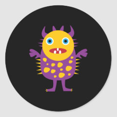 Fun Yellow Purple Monster Creature Gifts for Kids Round Stickers