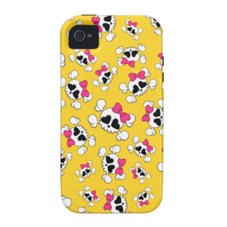Fun yellow skulls and bows pattern Case-Mate iPhone 4 case