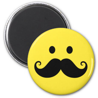 Fun yellow smiley face with handlebar mustache 2 inch round magnet