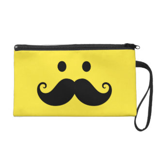 Fun yellow smiley face with handlebar mustache wristlet clutches