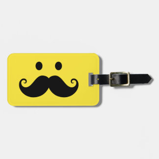 Fun yellow smiley face with handlebar mustache bag tag