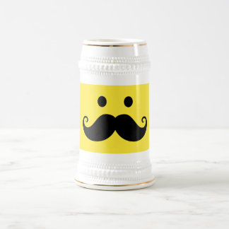 Fun yellow smiley face with handlebar mustache beer stein