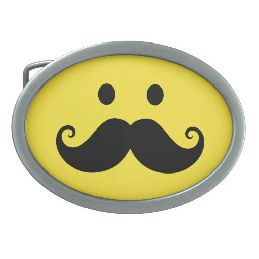 Fun yellow smiley face with handlebar mustache belt buckles
