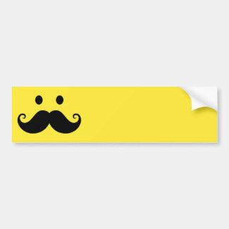 Fun yellow smiley face with handlebar mustache bumper sticker