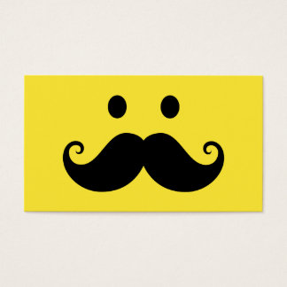 Fun yellow smiley face with handlebar mustache business card