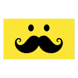 Fun yellow smiley face with handlebar mustache business cards