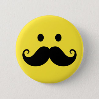 Fun yellow smiley face with handlebar mustache button