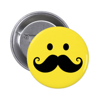 Fun yellow smiley face with handlebar mustache button