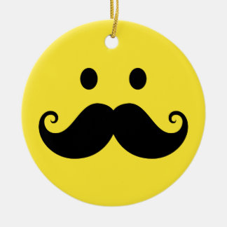 Fun yellow smiley face with handlebar mustache ceramic ornament