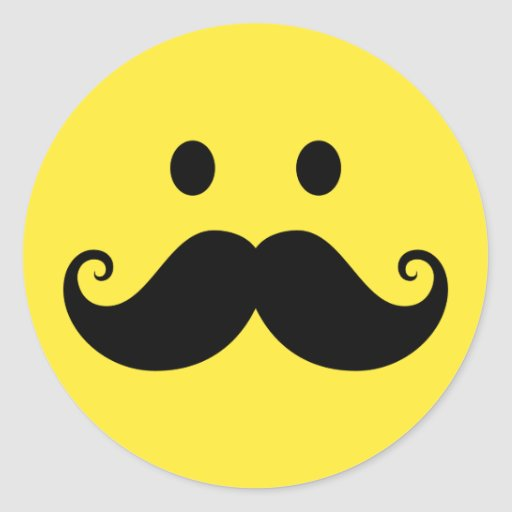 Fun yellow smiley face with handlebar mustache classic round sticker