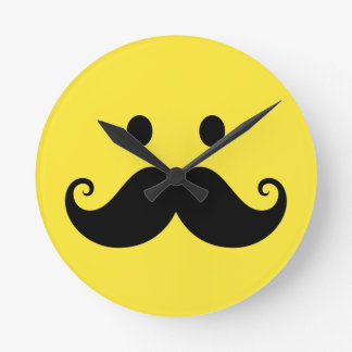 Fun yellow smiley face with handlebar mustache round wall clock
