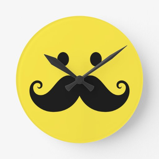 Fun yellow smiley face with handlebar mustache round wall clocks